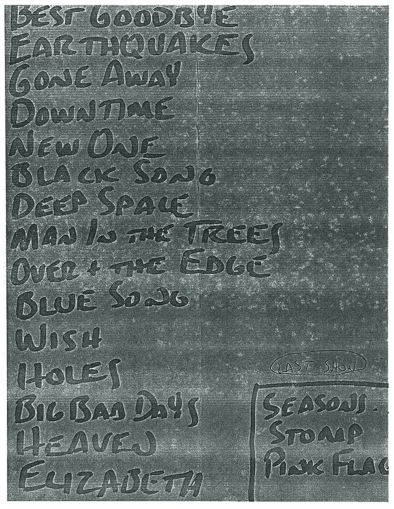 Setlist for last ever show, UWM Ballroom, Milwaukee, WI 1992-04-01
