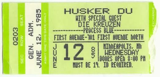 1st Avenue, Minneapolis, MN stub 1986-06-12