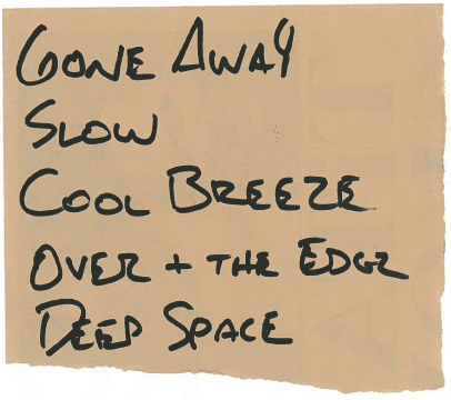 Setlist for an Instore acoustic set at Atomic Records, Milwaukee, WI 1992-02-23